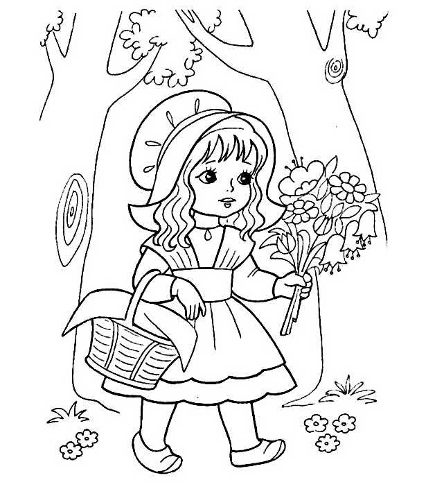 Раскраска шапочка для девочки