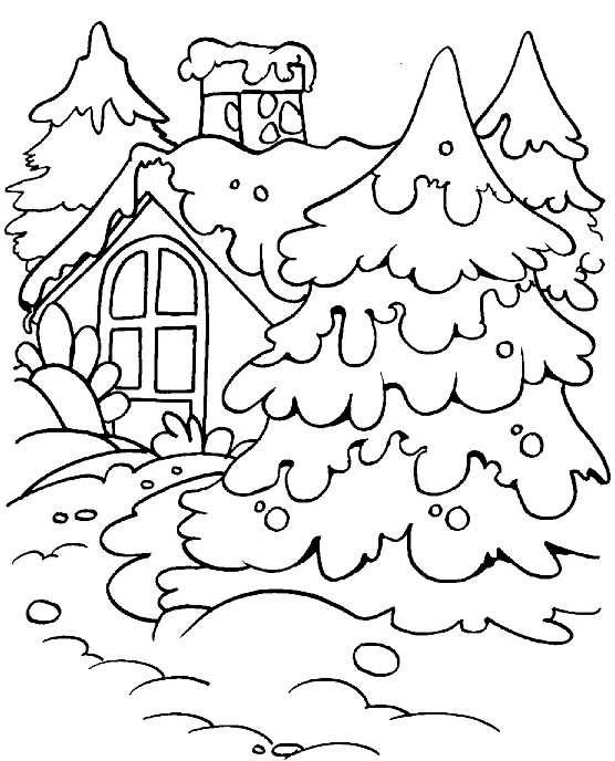 Картинки раскраски зимний лес для детей