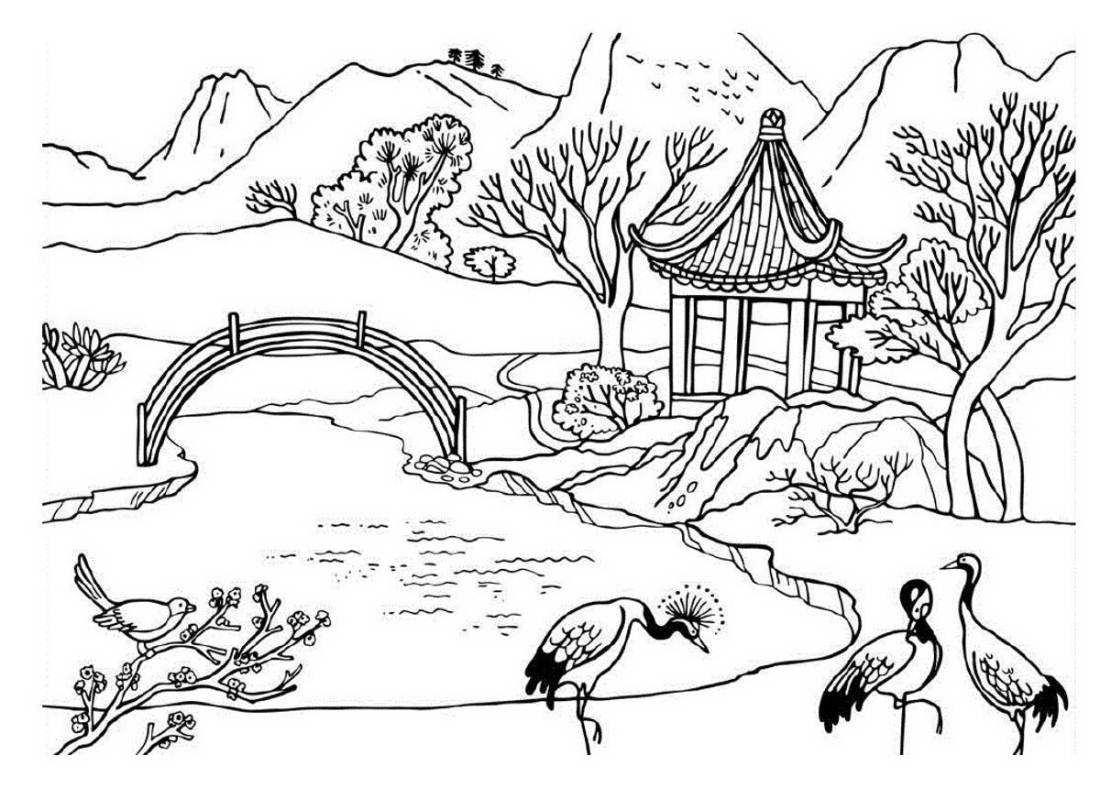 Раскраски пейзажи для девочек