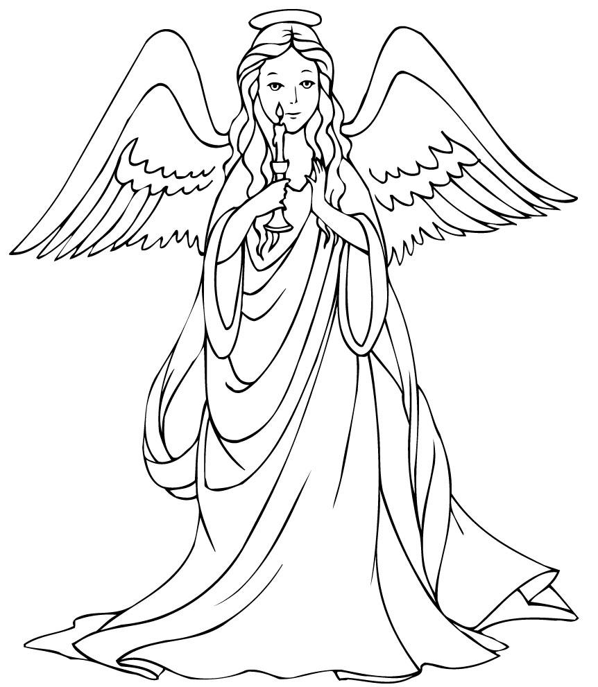 Картинка ангел с крыльями раскраска