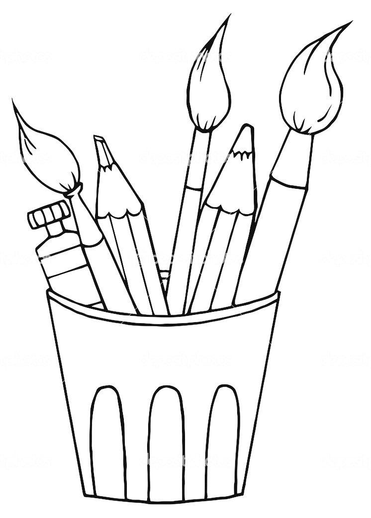Раскраска карандаш и кисточка