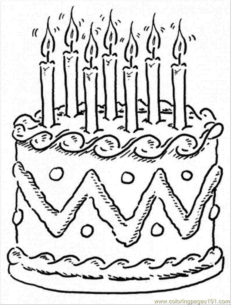 Рисунок торт раскраска