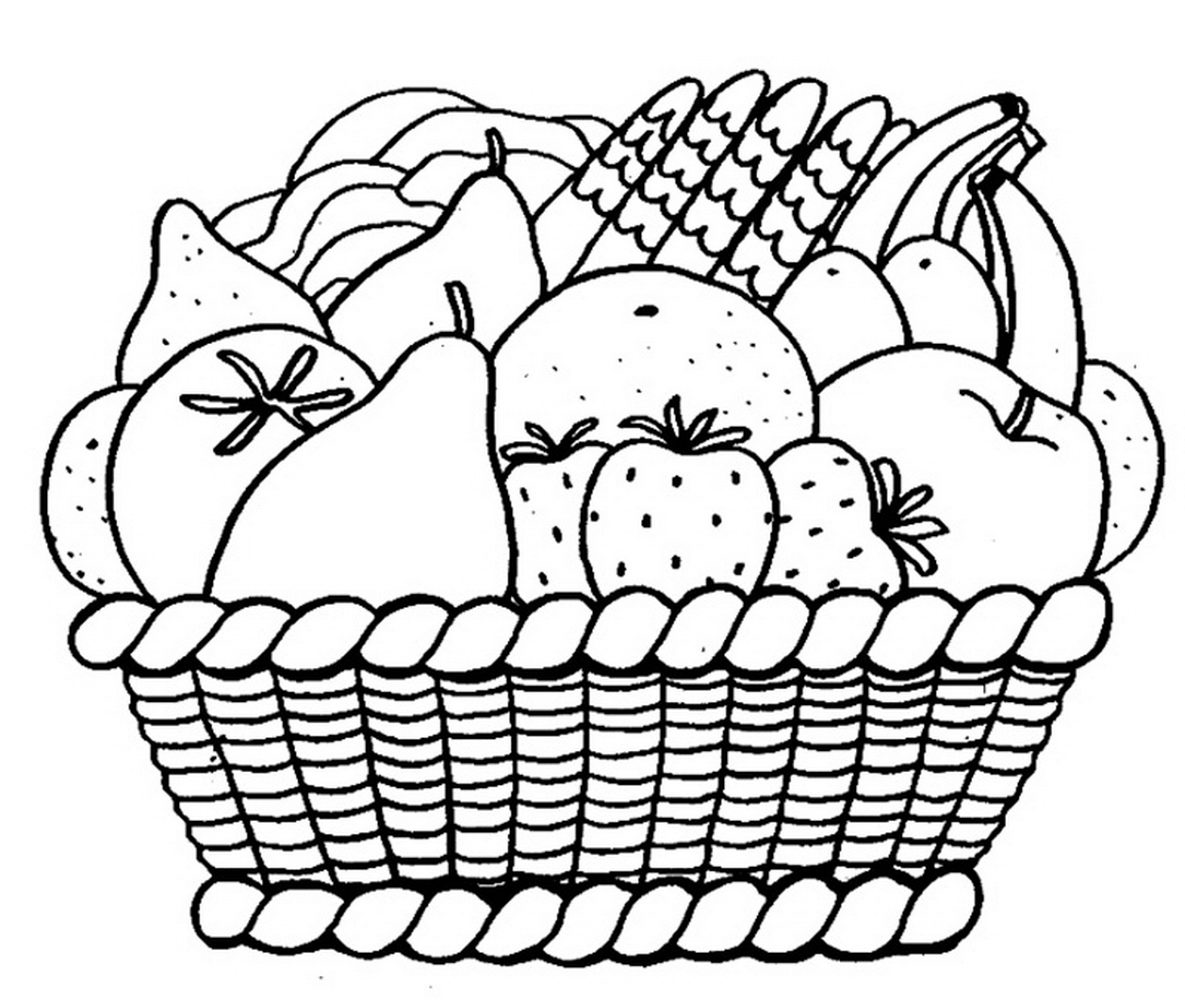 Раскраска корзина для овощей