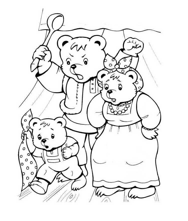 Три медведя простой рисунок