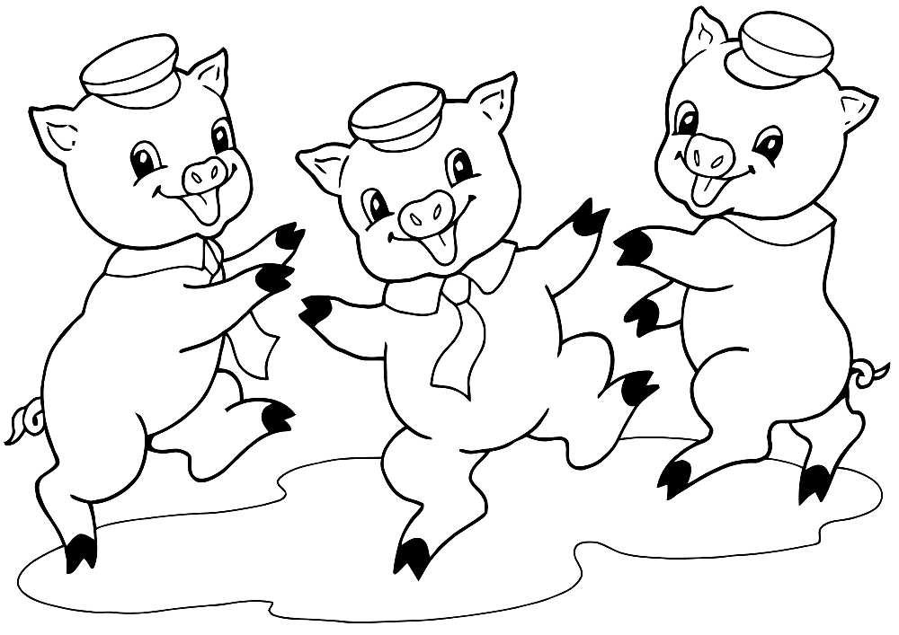 Рисунок трёх поросят карандашом
