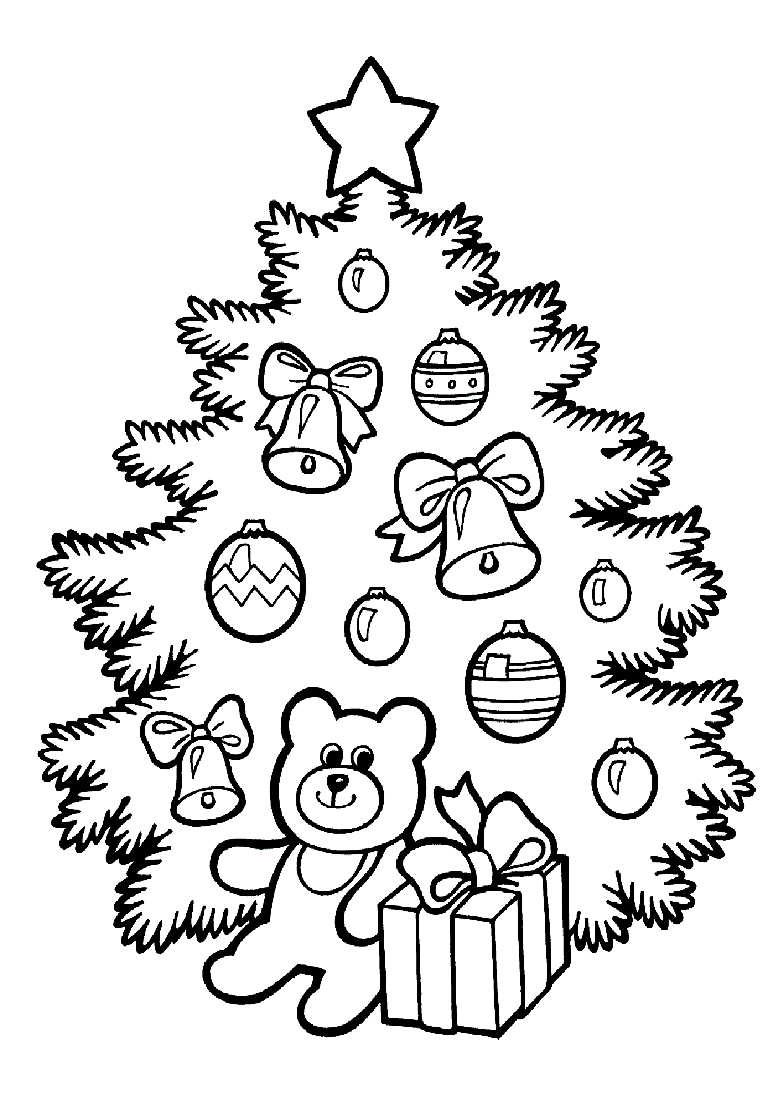 Новогодняя елка для раскраски