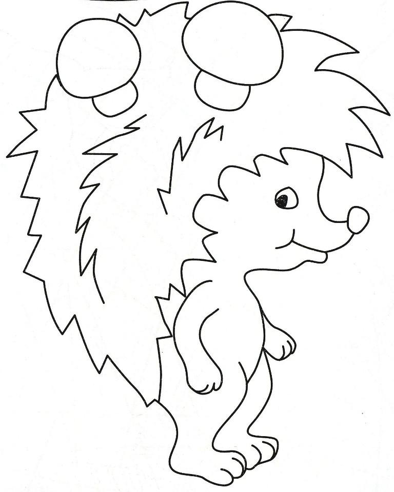 Рисунок ежика для поделки с семечками распечатать