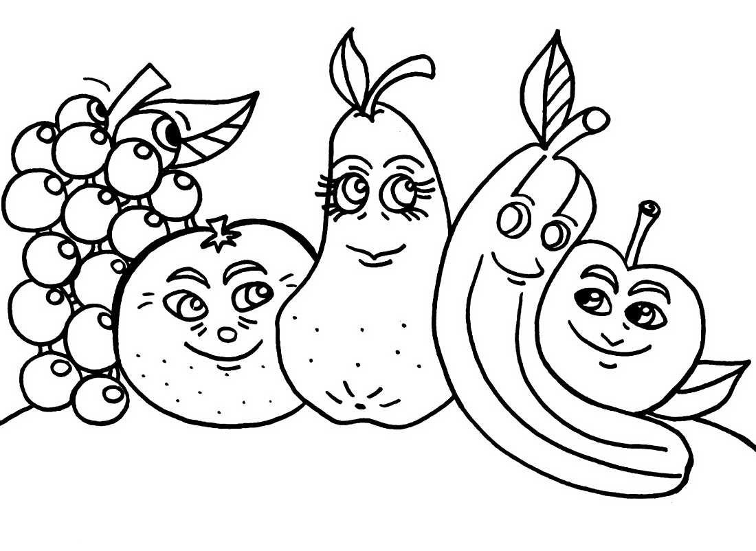 Детские картинки фрукты для раскраски