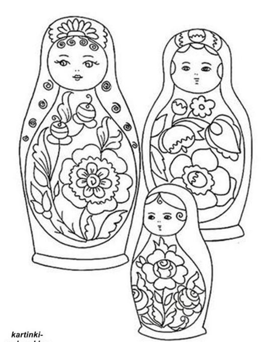 Русские матрешки раскраски