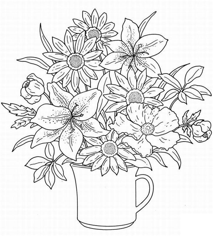 Натюрморты с цветами раскраски