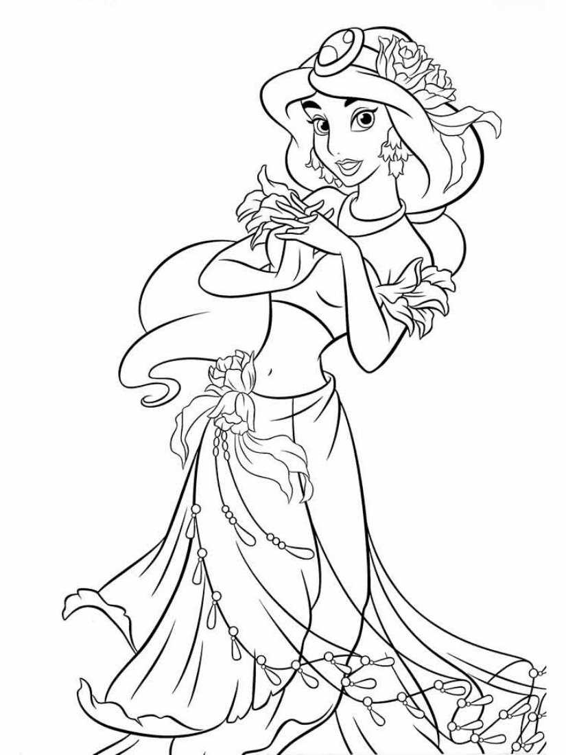 Скачать и распечатать раскраски принцессы жасмин