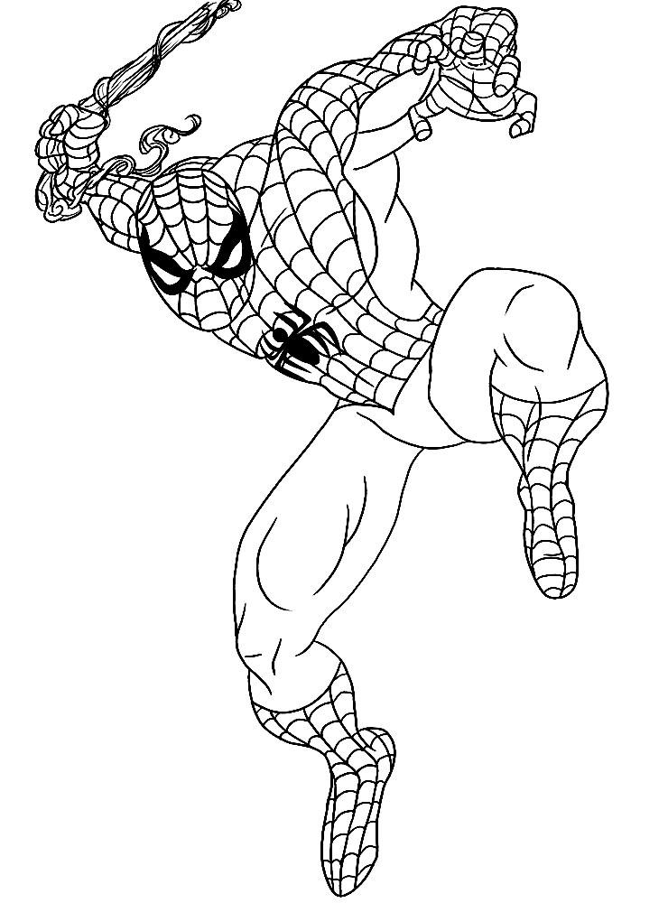 Разукрашка с картинкой человек паук
