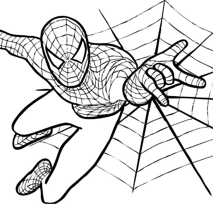 раскраски человек паук скачать и распечатать бесплатно