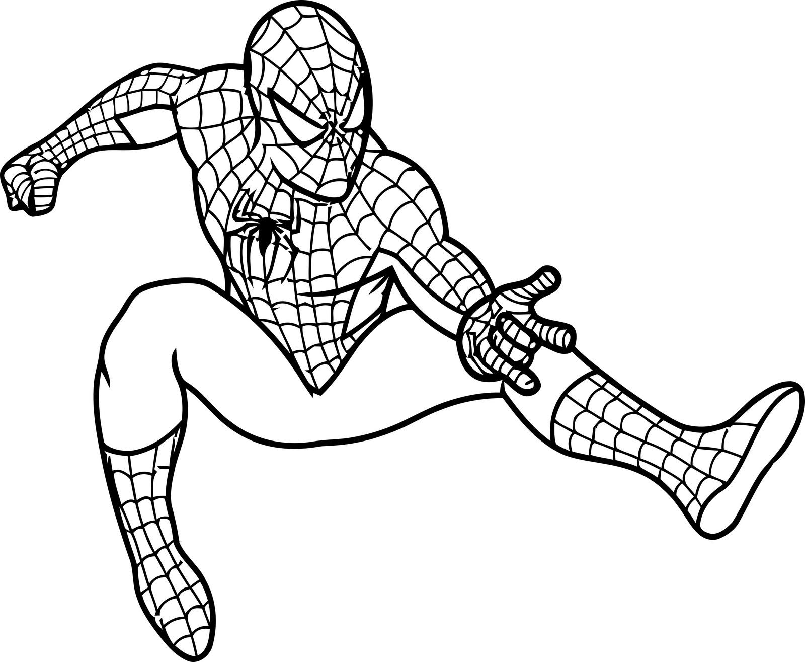 Раскраска для детей человек паук бесплатно