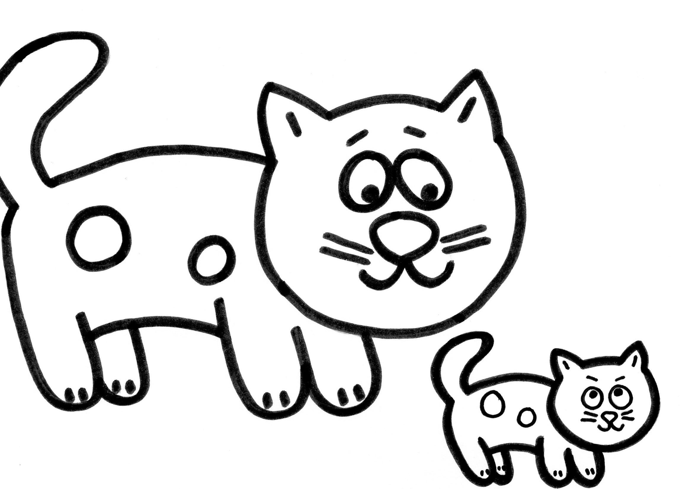 картинки для детей для раскрашивания кошки