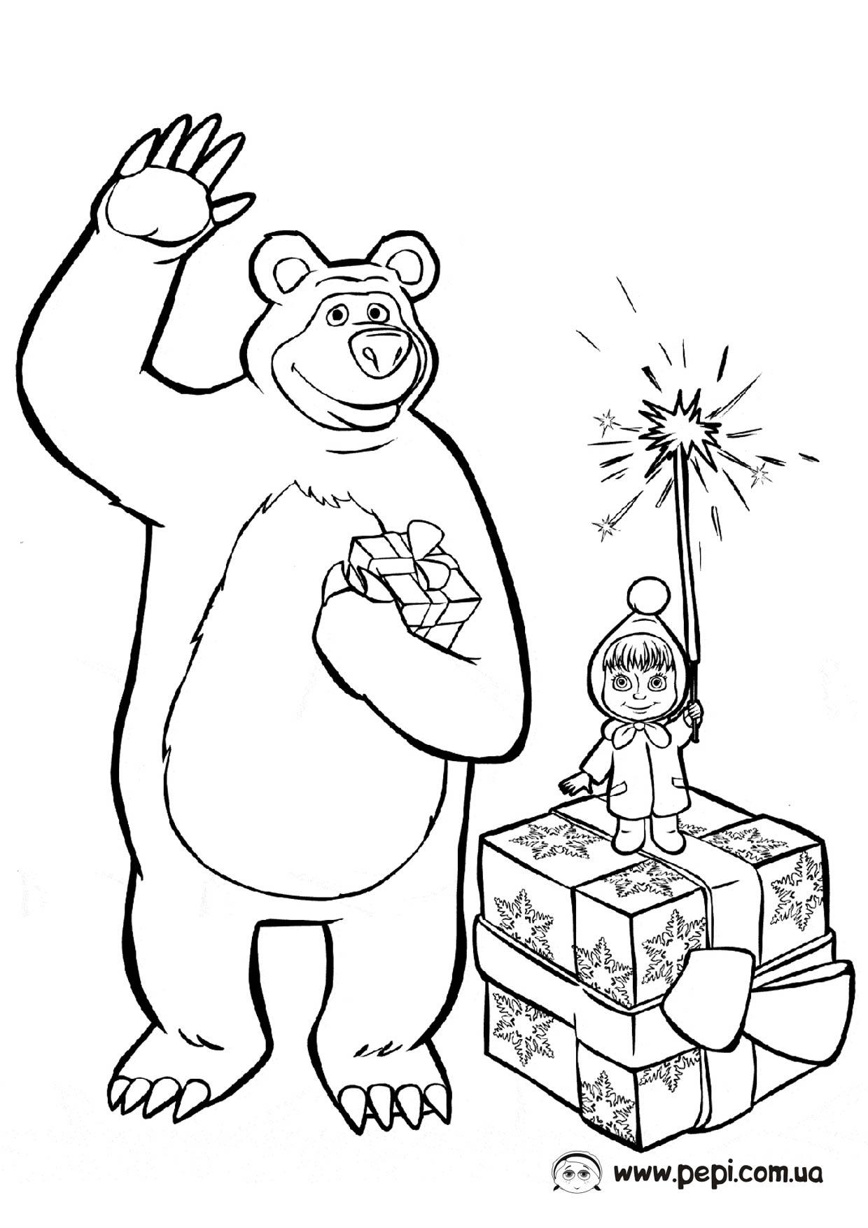 Картинки маша и медведи раскраска