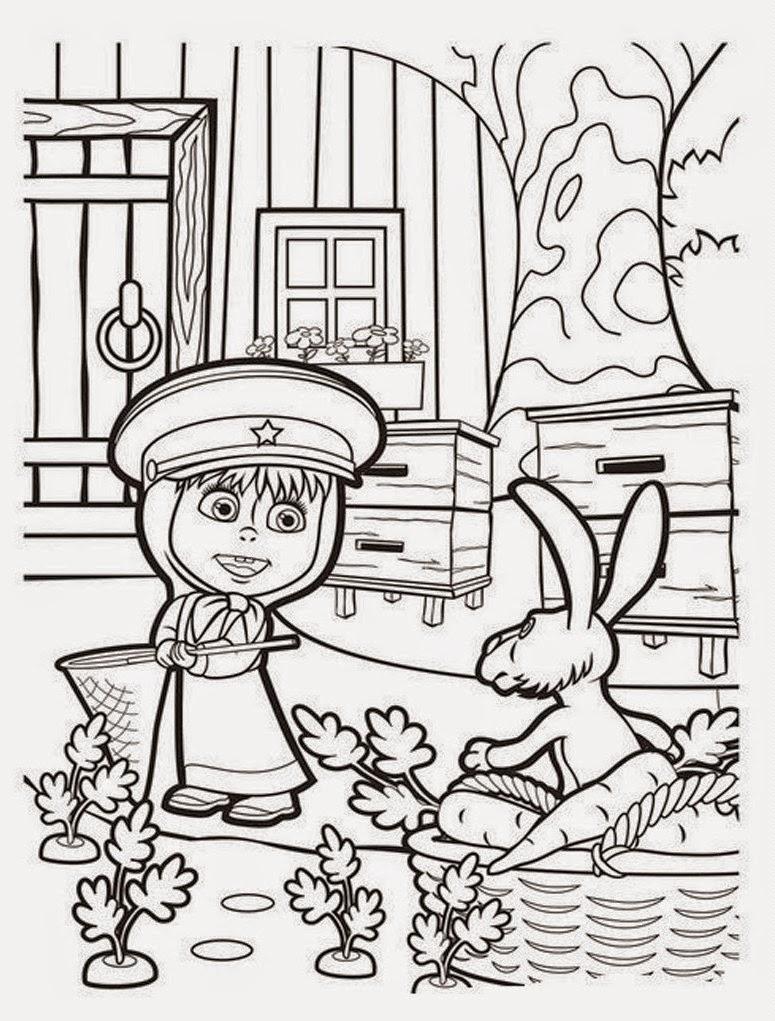 Раскраска для девочек онлайн маша и медведь - 9