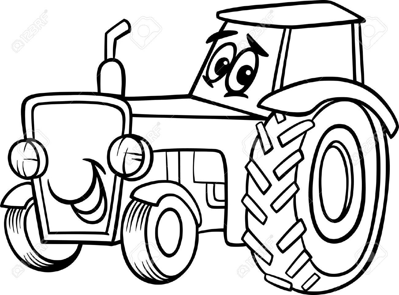 Веселая раскраска про трактор