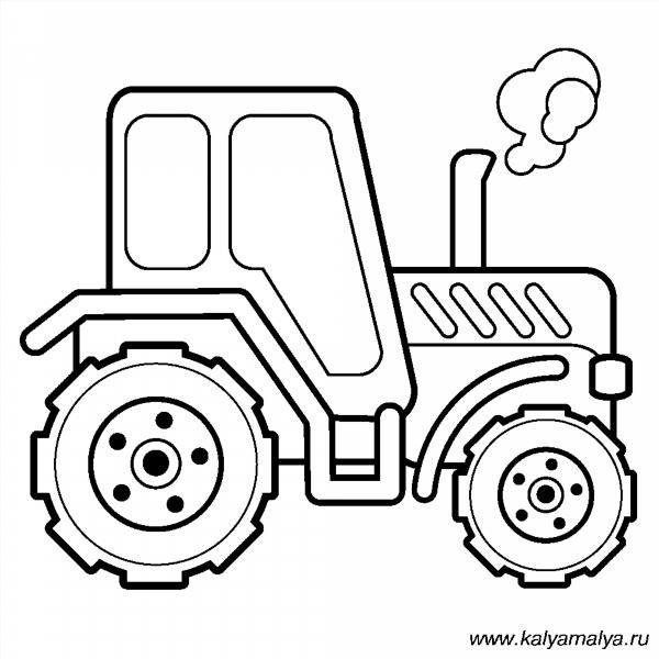 Раскраска трактор с тележкой