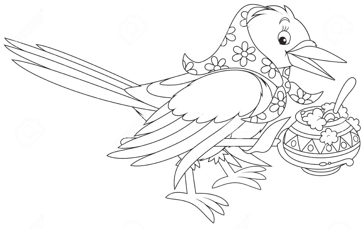 Картинка раскраска для детей сорока