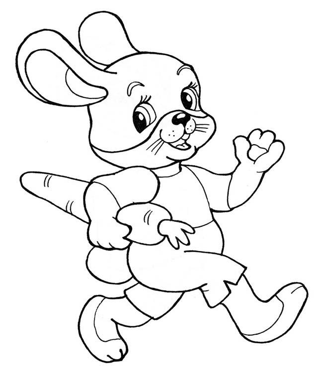 Картинка раскраска зайчика с морковкой